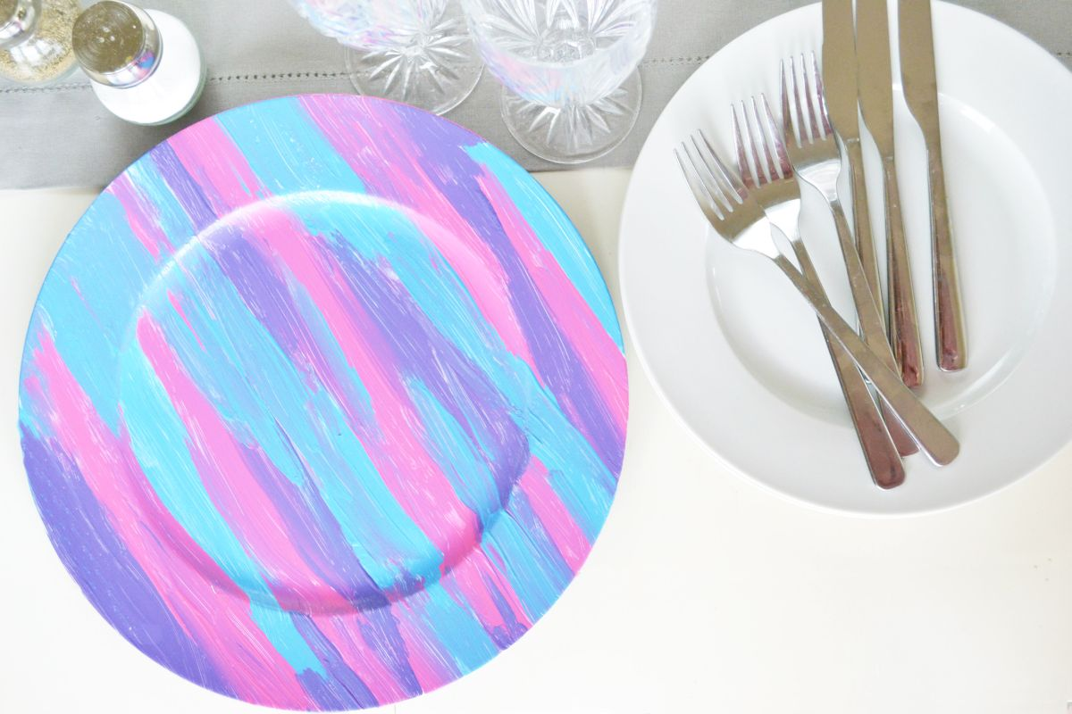 Make Colorful Hand Painted Chargers For Summer Parties