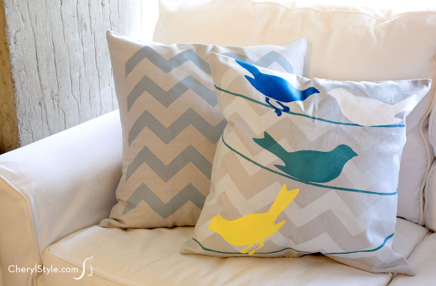 Stenciled Birds Pillowcase