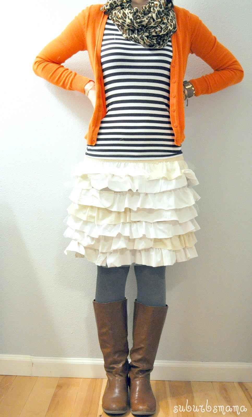 A Ruffle Skirt from an Old T-shirt