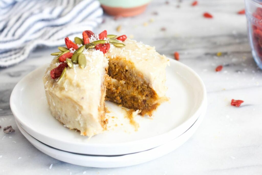 Carrot cake with cashew cream cheese frosting