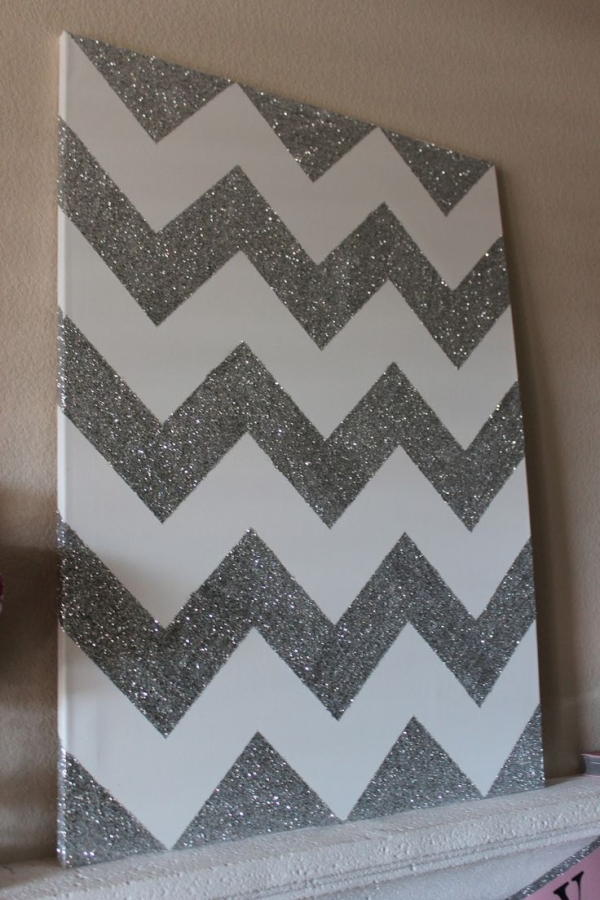 Chevron Glitter Wall Art