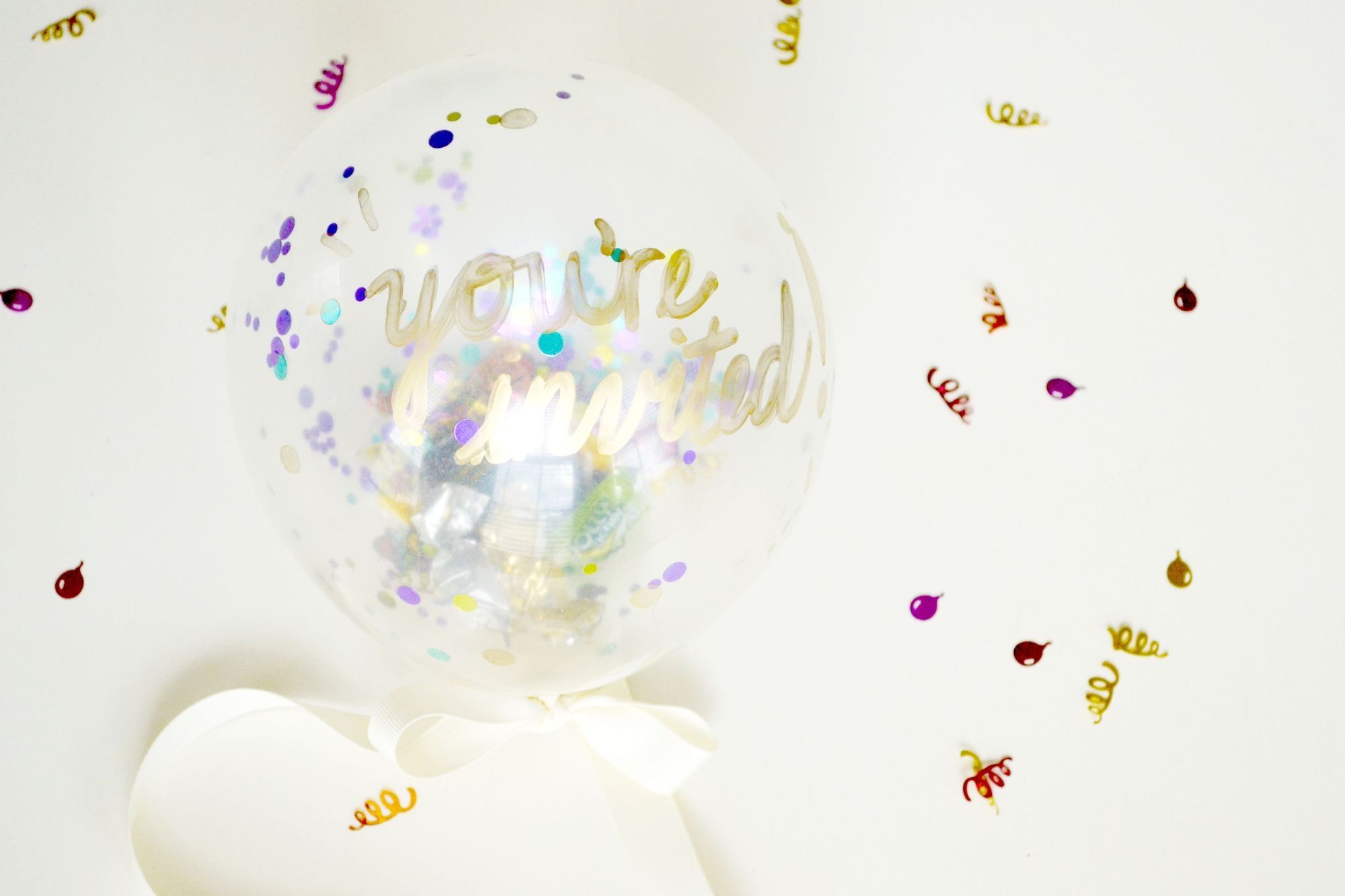 Confetti Balloon Invites Ribbon