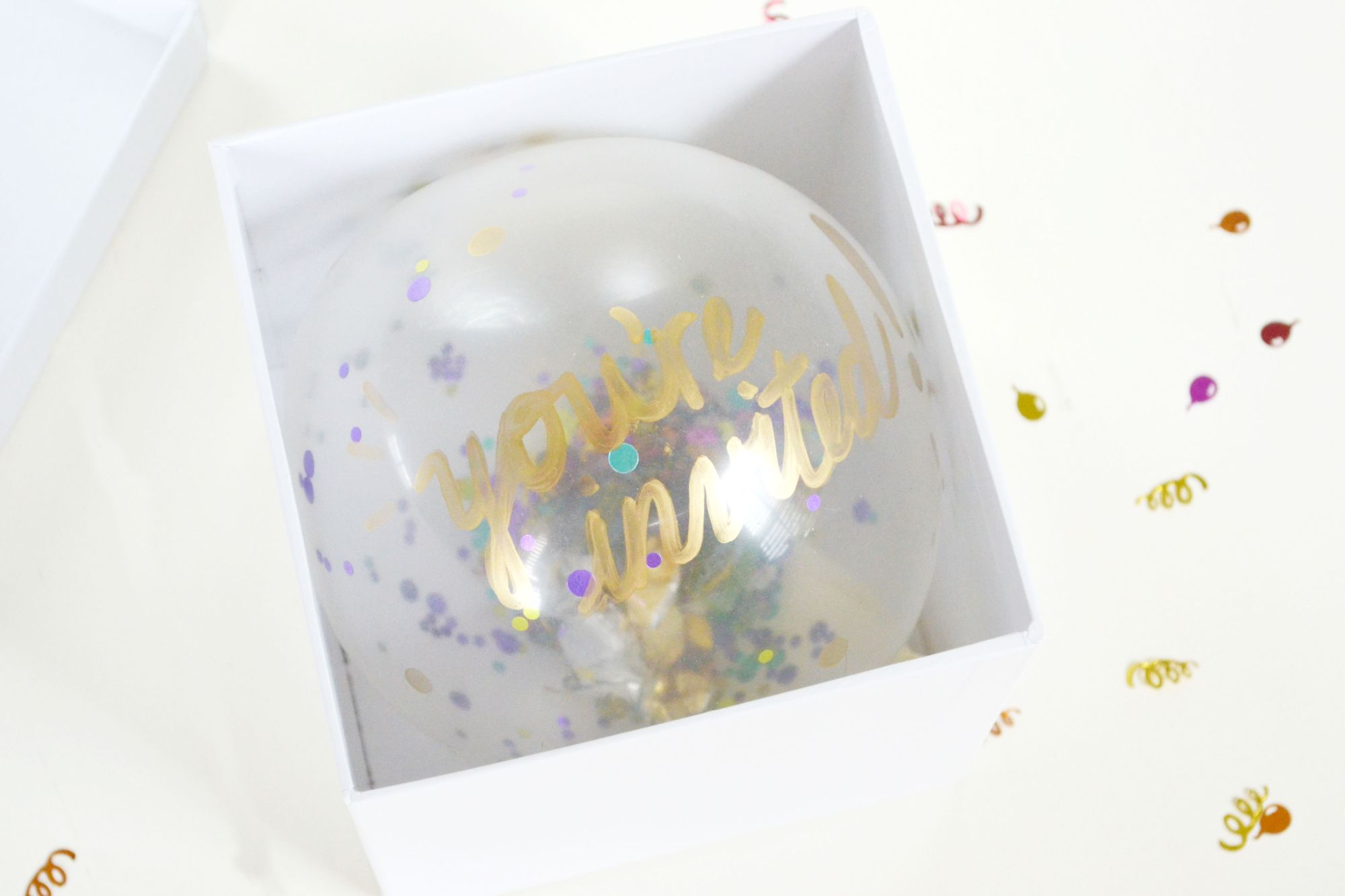 Confetti Balloon Invites White Box