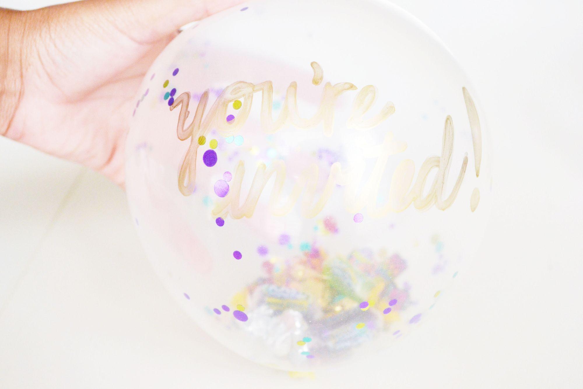 DIY Confetti Balloon Invites to Pop a Party