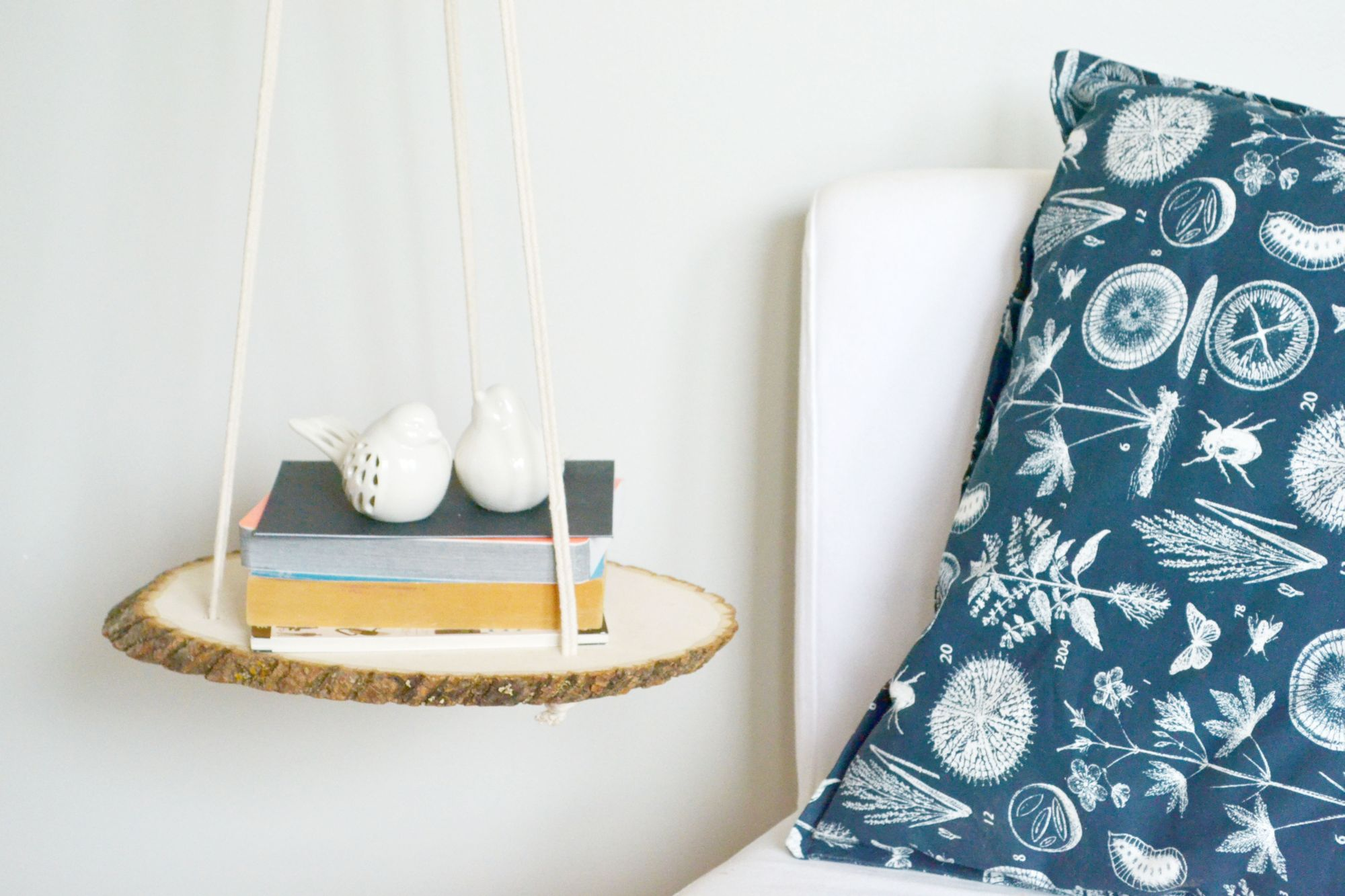 Diy Hanging Bedside Wood Shelf