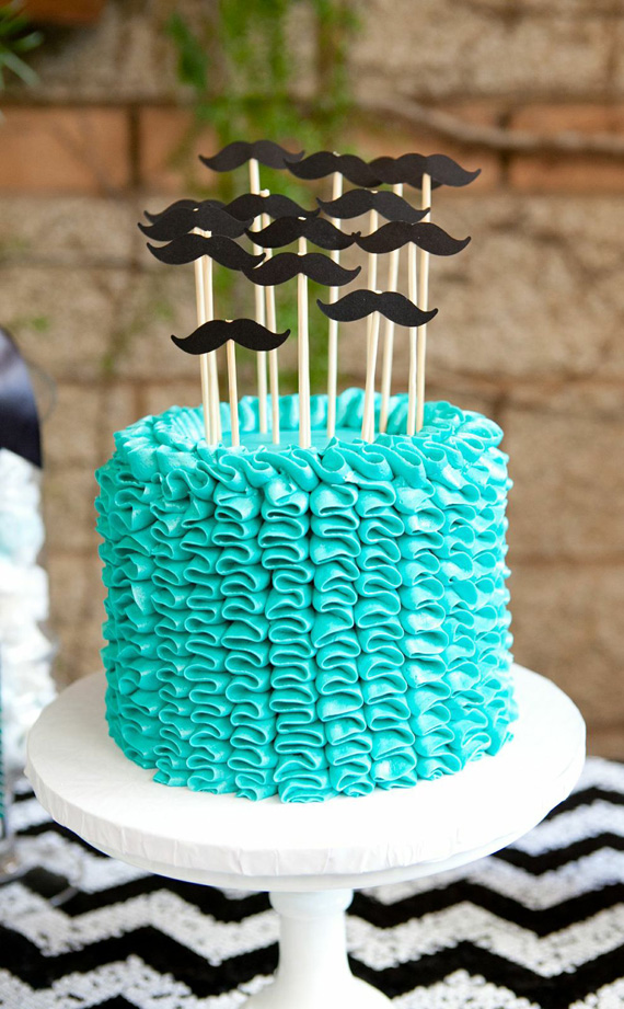 Mustache Accented Cake