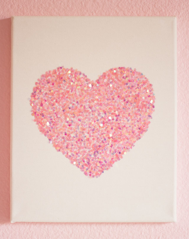 Pink Heart Glitter Wall Art