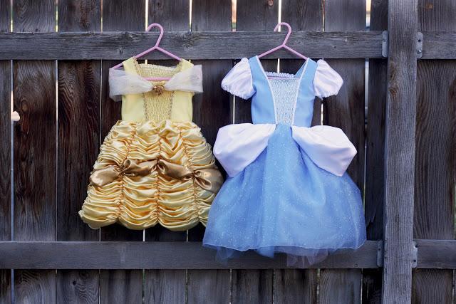 Princess dresses hanged on a fence