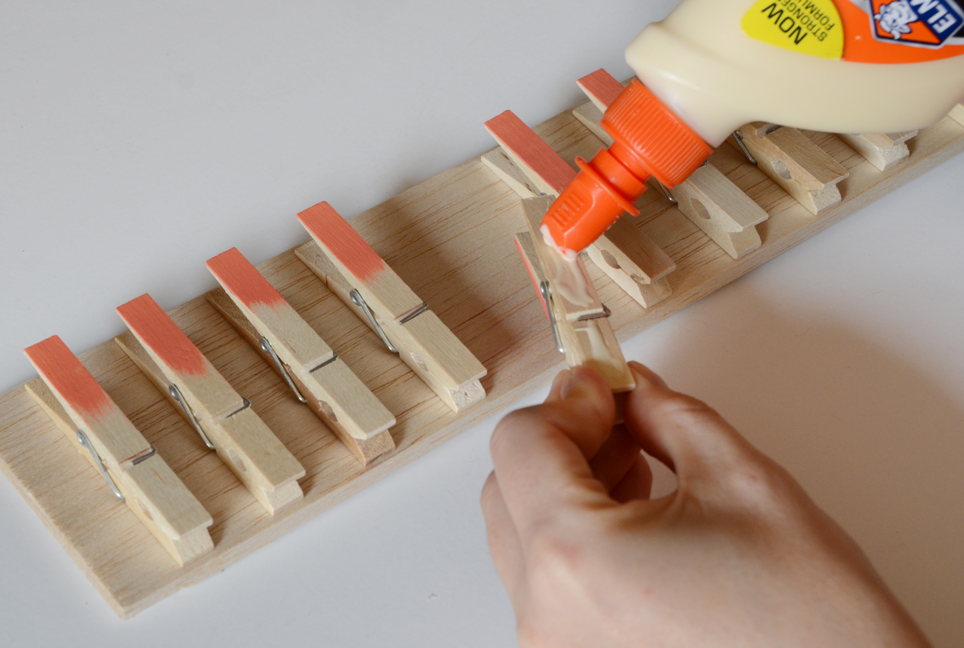 Gluing The Clothespins