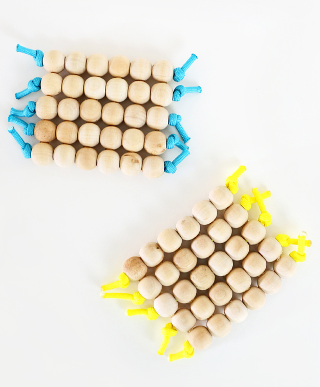 Coasters parachute cords and wooden balls