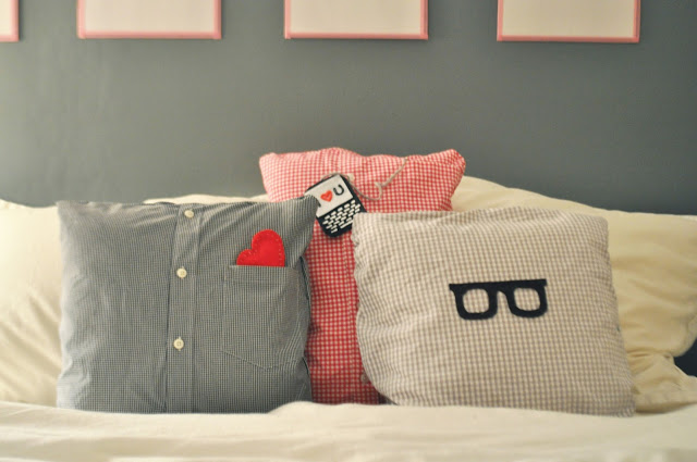 DIY Button Up Shirt Pillows