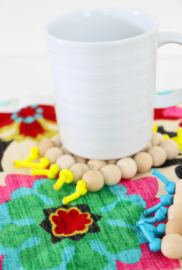 DIY Coasters from Wooden Beads Finished