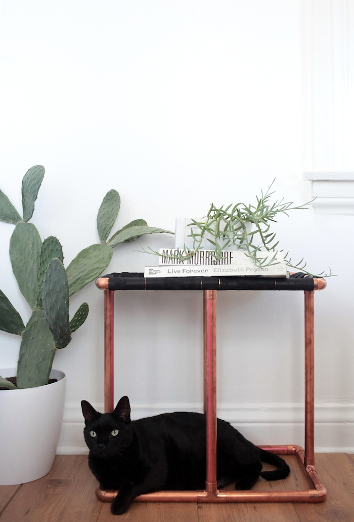 DIY Copper U0026 Leather Side Table