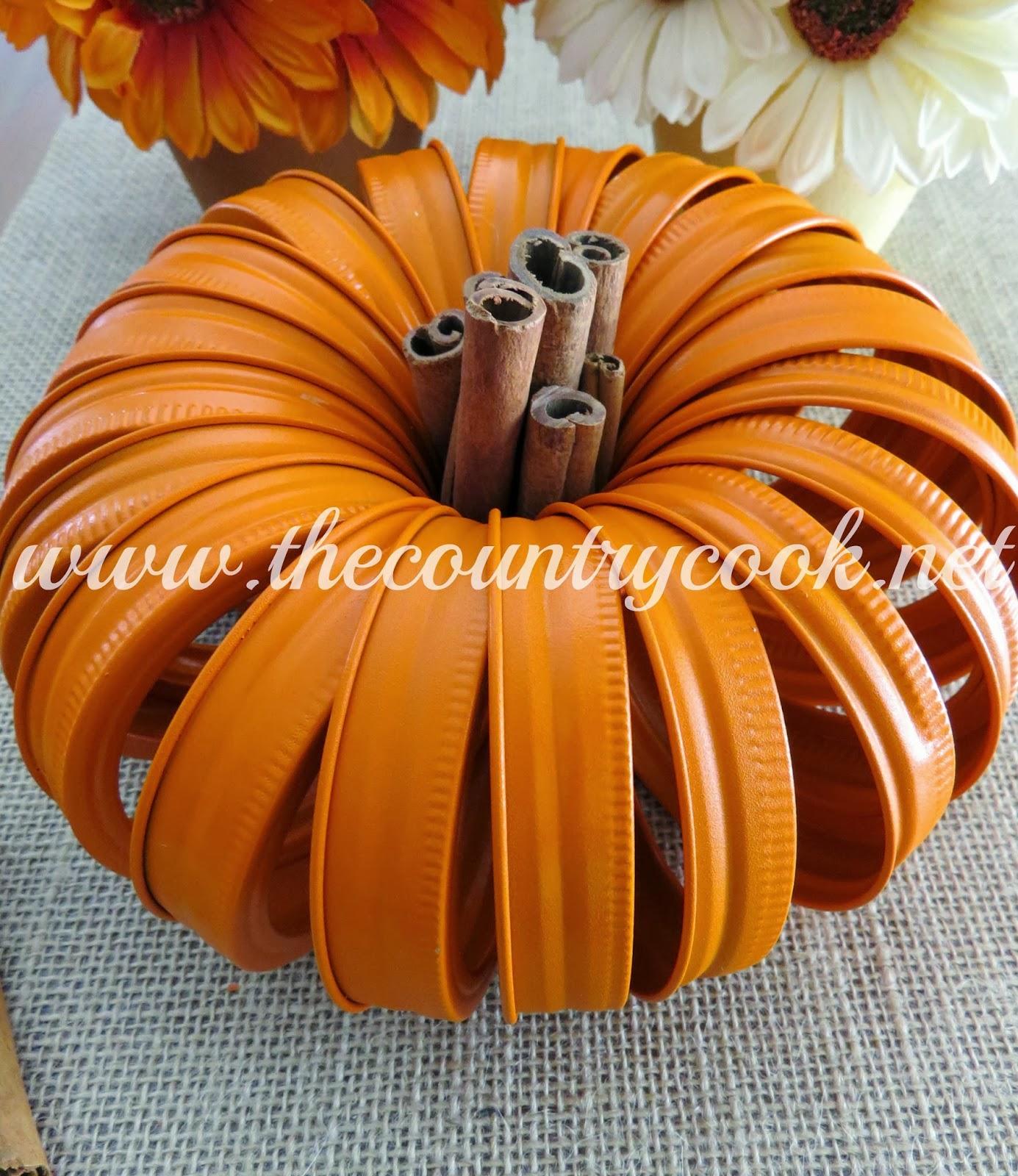 DIY Fall Centerpiece Jar Lid Pumpkin