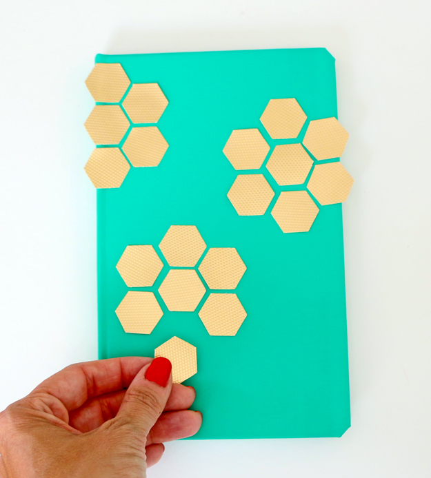 DIY Gold Hexagon Embellished Journal Arrange