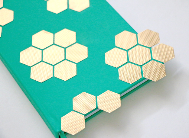DIY Gold Hexagon Embellished Journal Glue