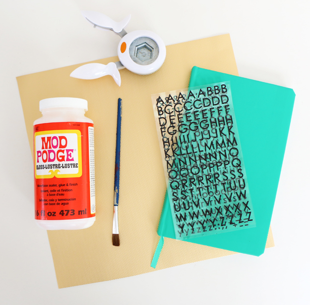DIY Gold Hexagon Embellished Journal Materials