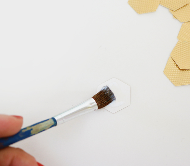 DIY Gold Hexagon Embellished Journal Podge