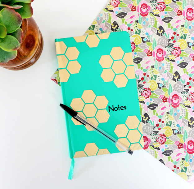 DIY Gold Hexagon Embellished Journal Project