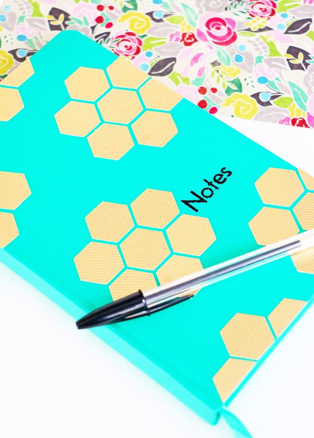 DIY Gold Hexagon Embellished Journal