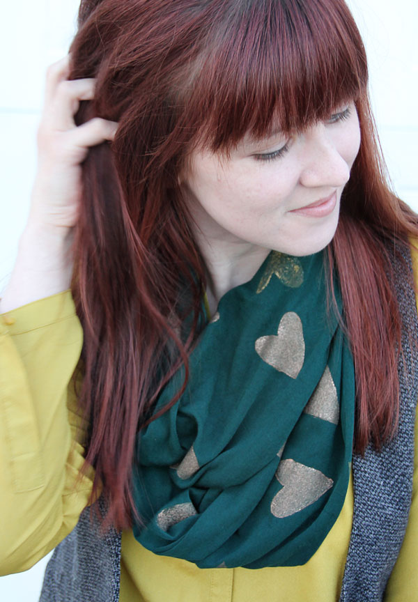 DIY Heart Stamped Scarf