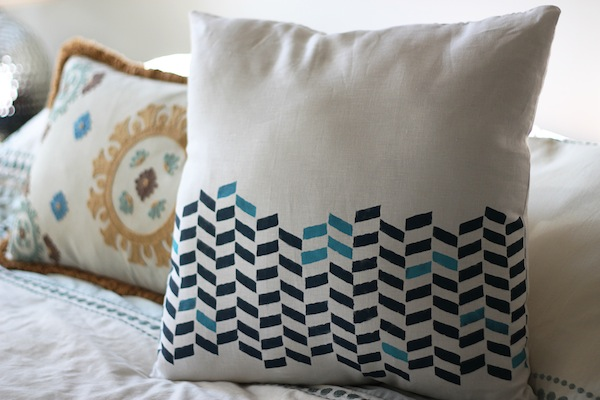DIY Herringbone Stencil Pillow