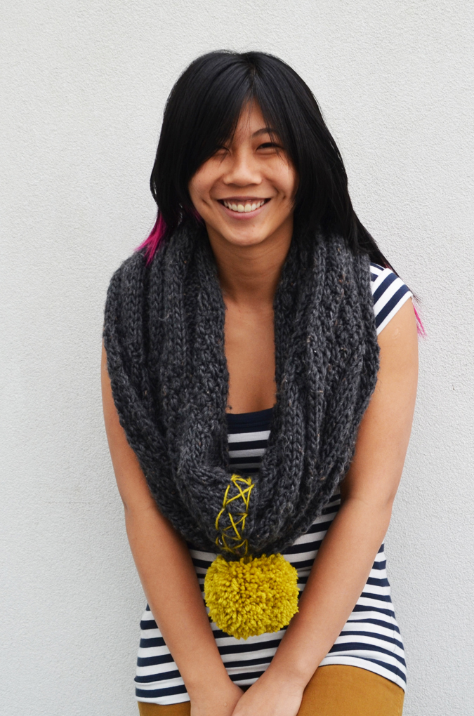 DIY Knit Pom POm Scarf