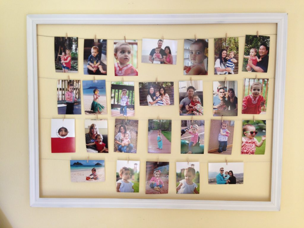 32 photo collage diys for a more beautiful home clothespin frame jeuxipadfo Gallery
