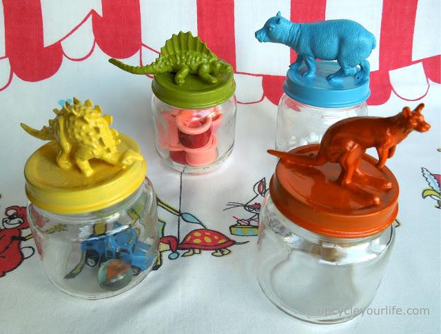DIY Plastic Animal Jar Lids