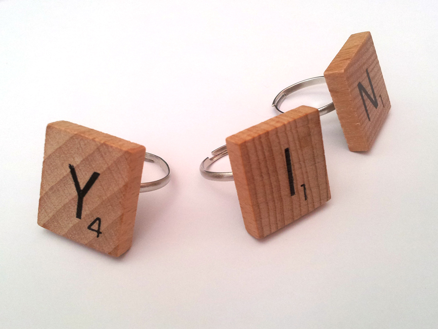DIY Scrabble Rings