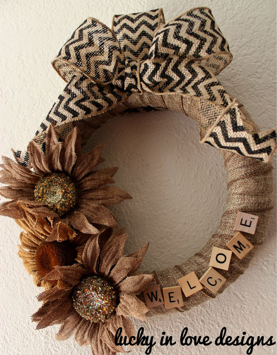 DIY Scrabble Wreath