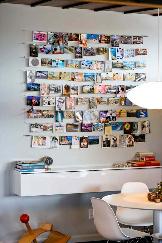 32 photo collage diys for a more beautiful home diy strung up photo collage wall solutioingenieria Image collections
