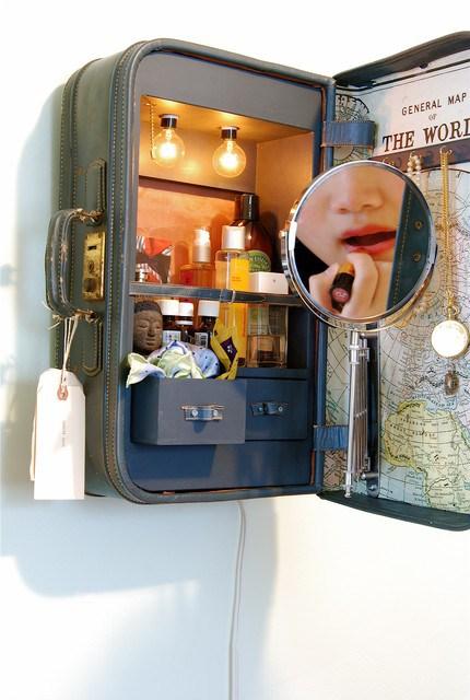 DIY Suitcase Vanity Cabinet