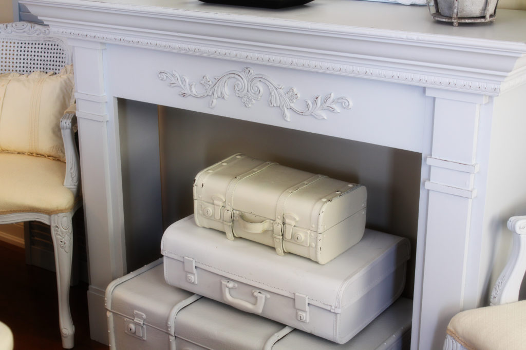 DIY Vintage Suitcase Fireplace Decor