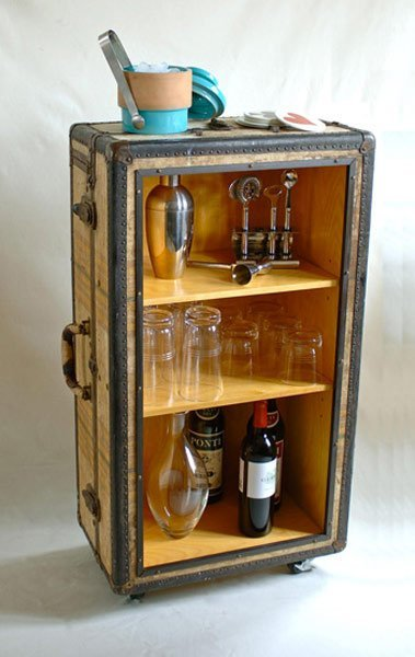 DIY Vintage Suitcase Rolling Bar Cart