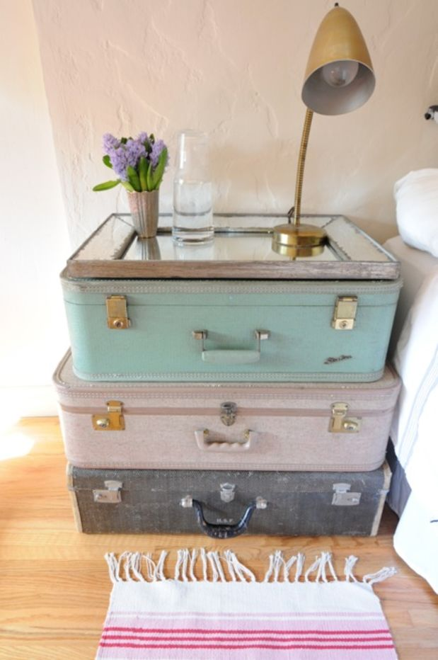 DIY Vintage Suitcase Stacked Table