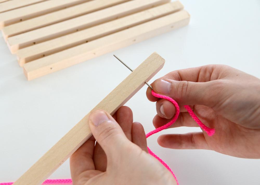 DIY Wooden Trivet Neon Cord