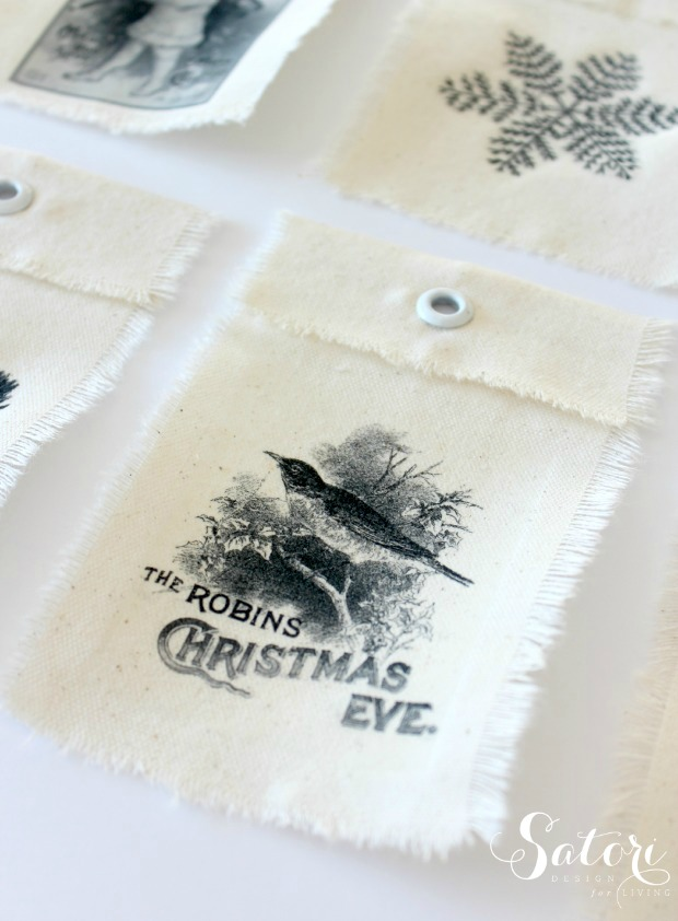 DIY iron on transfer christmas tags