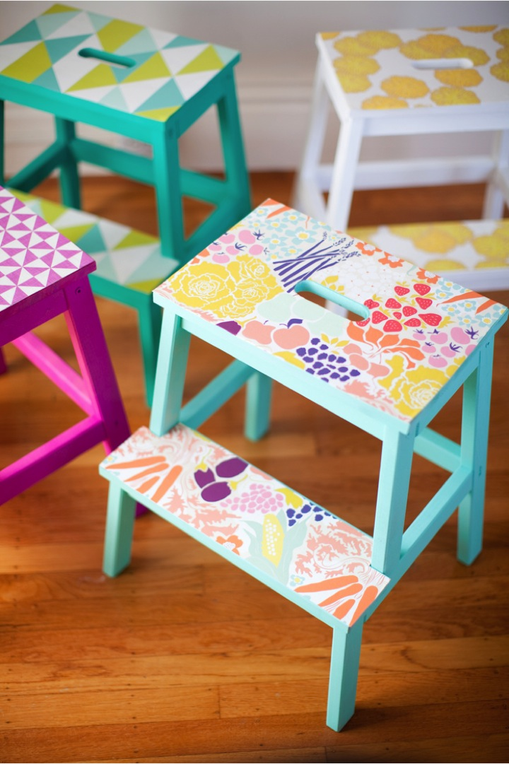 Colorful Patterned Step Stools