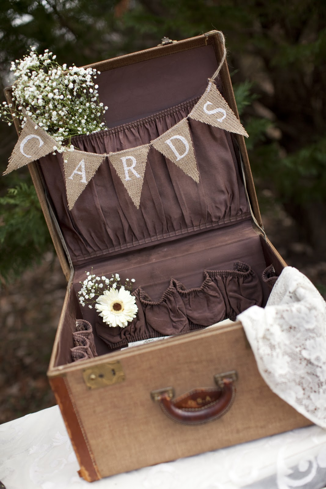 DIy Vintage Suitcase Wedding Card Box