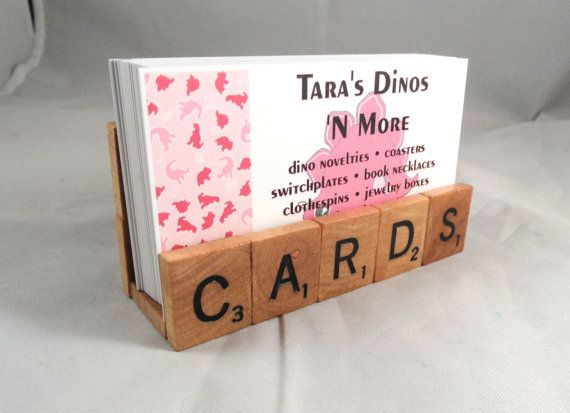 Diy scrabble business card holder