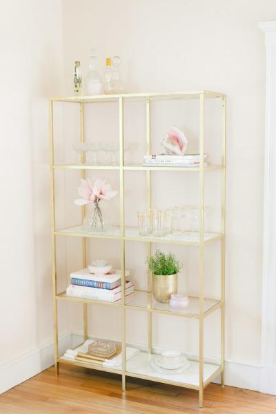 Gilded Bookshelf IKEA Hack