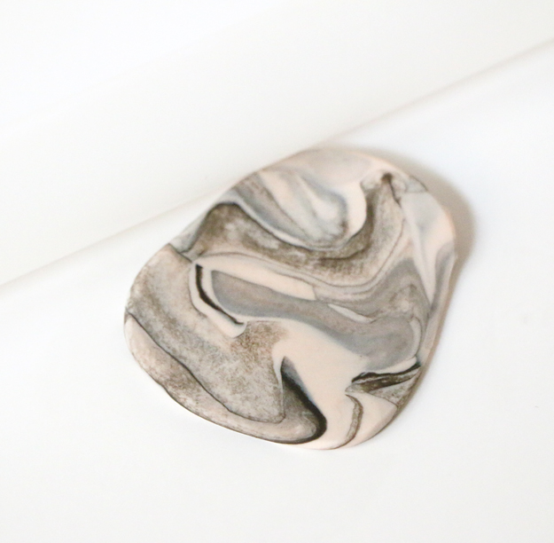 Marbled Clay Pendant Necklace Rolling Pin