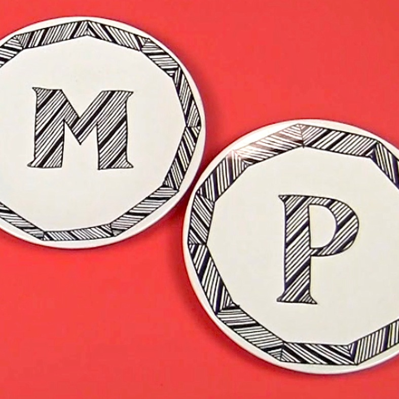 Monogram Sharpie DIY Plates
