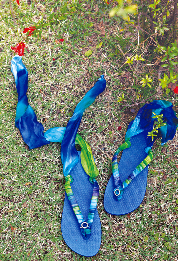 """032df43f334e9 Scarf Flip Flop DIY. Grab and old scarf and get to work creating these  whimsical pieces of """" ..."""