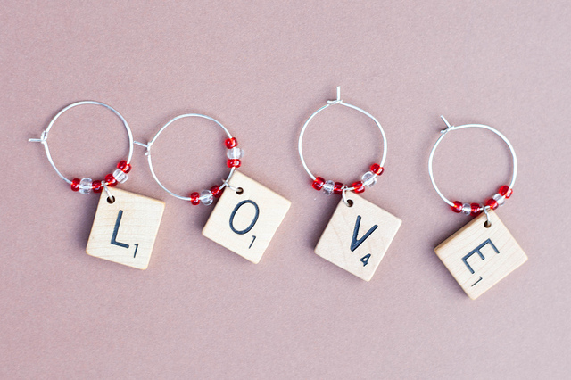 Scrabble Wine Glass Charms