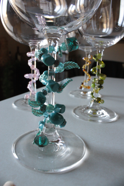 beaded wine markers