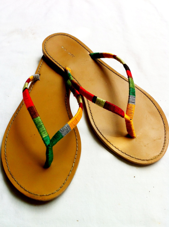 embroidery floss sandals