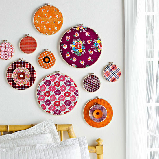 fabric scrap wall hangings