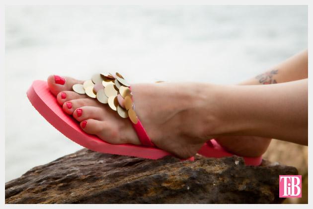 gold paillette sandals